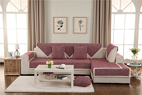 CHITONE Sofa Furniture Protector for pet or dog Sofa cover All season Sectional Sofa Throw Slipcover L Shape Solid color Thicken Cotton and Linen Couch Slipcover Rose Red 43x43inch(110x110cm)