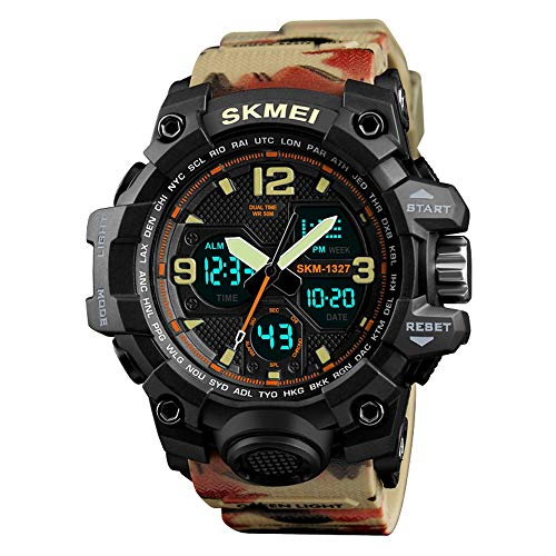 Watch Outdoor Waterproof Watches, Digital Analog Quartz Watch Dual Display Backlight Multi Function Military LED Alarm Stopwatch (Camouflage Khaki red) ()