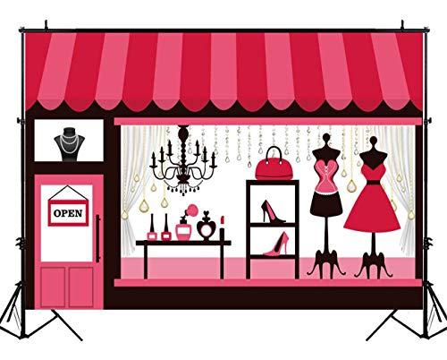 Funnytree 7x5ft Pink Clothing Jewelry Parlor Backdrop for Girl Baby Shower 1st First Birthday Party Sweets Table Banner Sweet 16 Decorations Photobooth Background Photo Studio ()