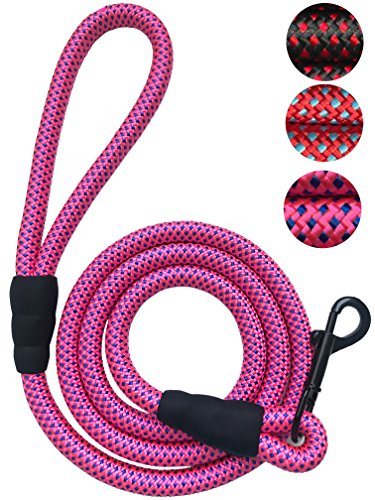 "iYoShop Extra Thick 6FT Dog Leash Rope Leash – 1/2 Inch Thick – Quality Extra Thick Nylon Rope – Soft Handle and Light Weight Pet Training Lead – for Medium Large Dogs (1/2"" X 6', Pink)"