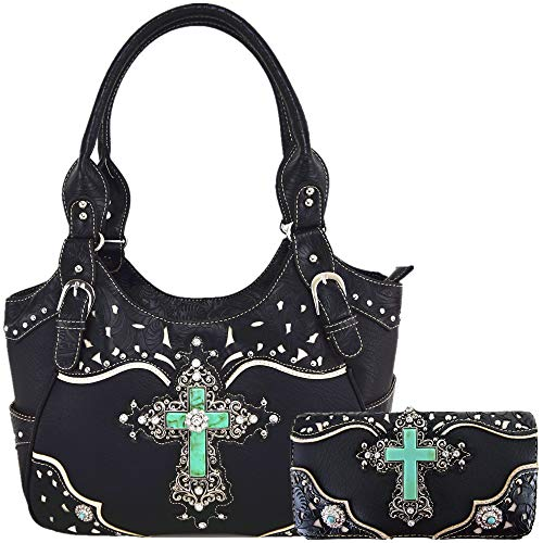 Western Rhinestone Cross Tooled Leather Totes Concealed Carry Purse Handbag Women Shoulder Bag Wallet Set (#2 Black Set)