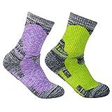 YUEDGE Women's 2 Pairs Multi Performance Outdoor Sports Hiking Trekking Running Wicking Cushion Cotton Crew Socks