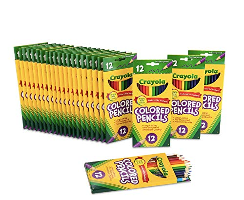 Crayola Bulk Colored Pencils, Pre-sharpened, Back to School Supplies, 12 Assorted Colors, Pack of 24 (Colors In A 24 Pack Of Colored Pencils)