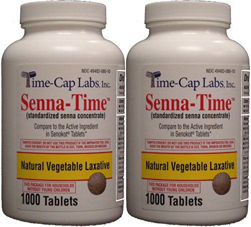 Senna-Time Generic for Senokot Natural Vegetable Laxative Senna 8.6 Mg 1000 Tablets per Bottle Pack Of 2 Bottles