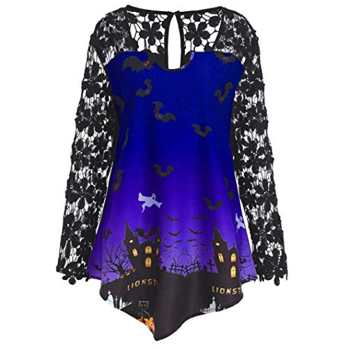 Halloween Maglietta Pizzo Moda con Halloween T Camicetta Donna Sottile Patchwork alla Shirt Purple Asimmetrico Cappuccio Top Lunga Sexy Moda Felpe di Ningsun Camicia Manica OPqdO