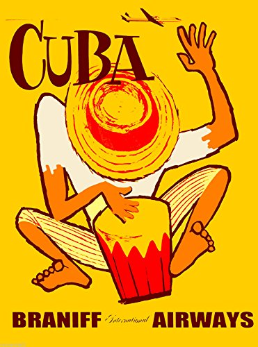 A SLICE IN TIME Bongo Drums Cuba Cuban Caribbean Island Vintage Travel Advertisement Art Collectible Wall Decor Poster Print. Measures 10 x 13.5 inches