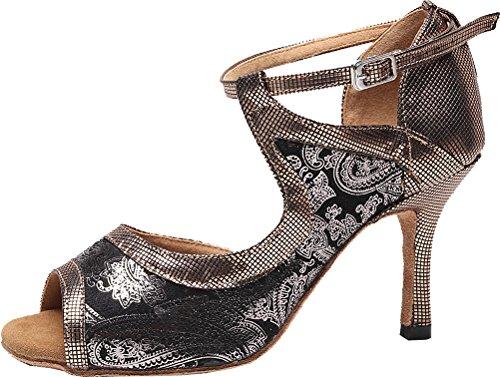 CFP 7130 Ladies Latin Tango Cha-Cha Swing Ballroom Party Wedding Sudue Sole Mid Heel Ankle Straps Peep Toe D-orsay PU Dance Shoes Grey 2xVXPo