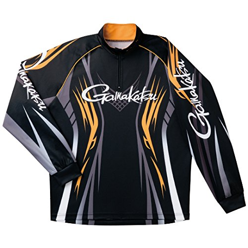 がまかつ(Gamakatsu) 2WAYプリントジップシャツ(長袖) GM-3503 Large ブラック×ゴールド B0793KC632