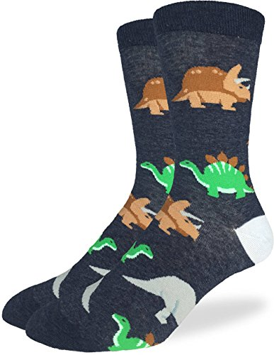Dinosaur Socks (Good Luck Sock Men's Jurassic Dinosaur Crew Socks - Black, Adult Shoe Size 7-12)