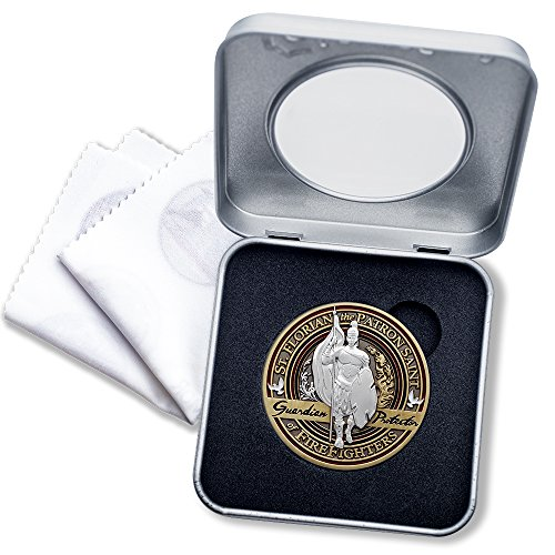 Firefighter Brotherhood Challenge Coin Saint Florian in Deluxe Display tin with Bonus polishing Cloth