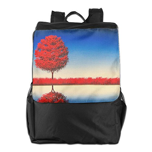 HSVCUY Personalized Outdoors Backpack,Travel/Camping/School-Red Tree Adjustable Shoulder Strap Storage Dayback For Women And Men