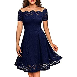 MissMay Women's Vintage Floral Lace Short Sleeve Boat Neck Cocktail Formal Swing Dress (Large,E-Navy Blue Short Sleeve)