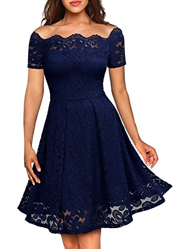 MISSMAY Women's Vintage Floral Lace Short Sleeve Boat Neck Cocktail Party Swing Dress, Medium, Navy Blue