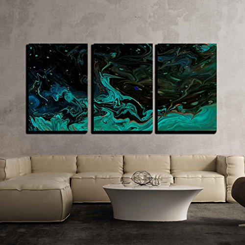 wall26 - 3 Piece Canvas Wall Art - Closeup View of Hand Painted Abstract Dark Cosmic Grunge Background - Modern Home Decor Stretched and Framed Ready to Hang - 16