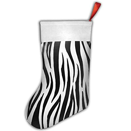 vicrunning creative black white zebra print christmas stocking decorations for family festive holiday - Christmas Zebra Decorations