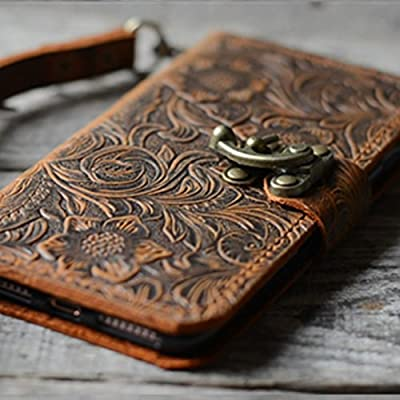 Handmade Book Leather Wallet Case for Samsung Galaxy note 8 retro style brown 001