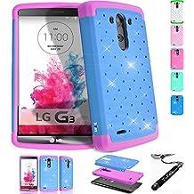 LG G3 Case, ToPerk (TM) Luxury Spot Diamond Dual Layer Armor Case & Stylus Pen As Bundle Sale - Sky Blue