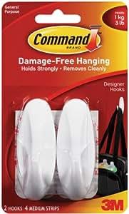 Command Medium Designer Hooks, White, 2-Hook