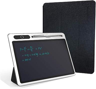 ANCLOK 10 Pulgadas LCD Memo electrónico y Tableta de Escritura Pizarra Inteligente portátil con Estuche de Cuero para Ancianos y niños escriben-Negro: Amazon.es: Electrónica