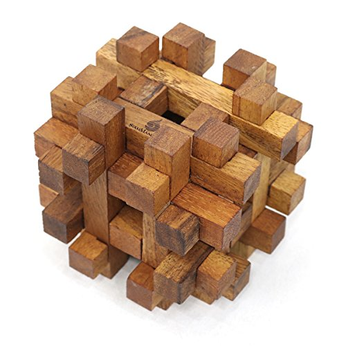 Double Lock-a-Ball: Handmade & Organic 3D Wooden Puzzle for Adults from SiamMandalay with SM Gift Box(Pictured)