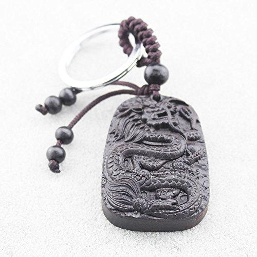 FOY-MALL Dragon Ebony Wood Carved Men Women Car/Bag Key Chain M1148 by FOY-MALL (Image #1)