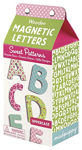 (Mudpuppy 40-Piece Sweet Patterns Magnetic Wooden ABCs Set - Magnetic Uppercase Letters Each Measure 1.75