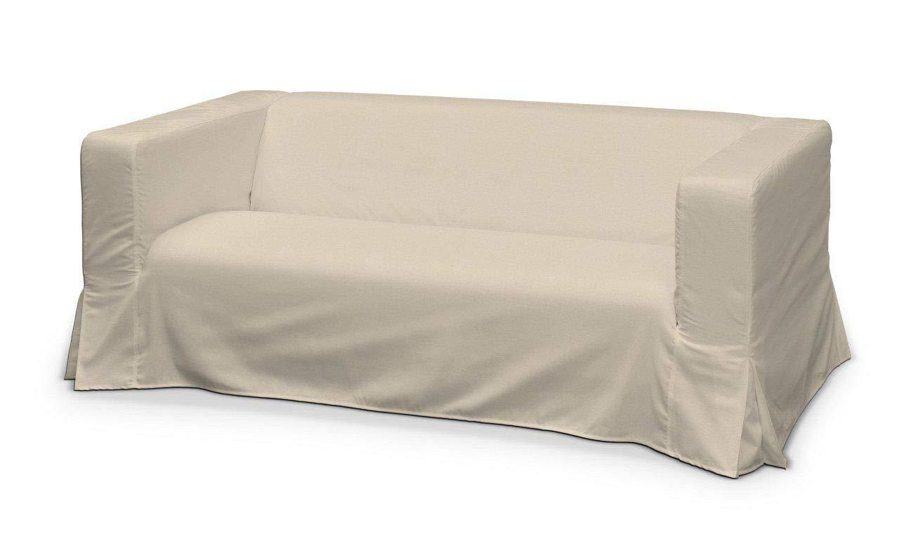 Dekoria Klippan 2-Sitzer Sofabezug lang mit Kellerfalte Sofahusse passend für IKEA Modell Klippan beige