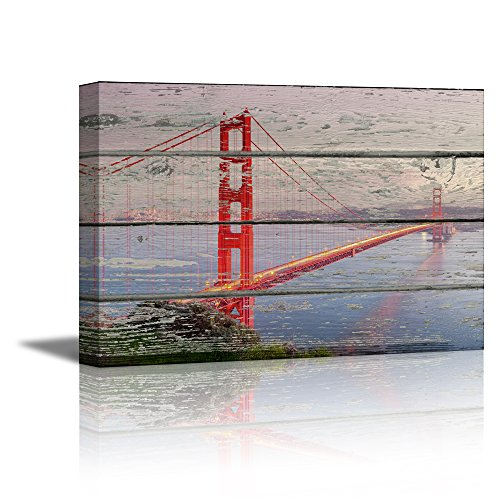 Gate Bridge (wall26 Canvas Prints Wall Art - Golden Gate Bridge on Vintage Wood Background Rustic Home Decoration - 16