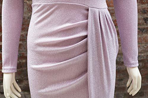 The Dress Shoulder Sexy Bodycon LLYGE Wrap Pink Off Elegant Shiny Ruched Womens Thigh Side Slit q7qxEnOv