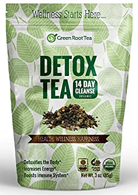 Organic Detox Tea - 14 Day & 28 Day Weight Loss Cleanse - Teatox Diet Tea. Liver & Skin Detox. Reduces Bloating. Green Root Tea