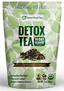 Organic Detox Green Tea - 14 Day Weight Loss Cleanse (28 servings) - Liver & Skin Detox - Teatox Slimming Tea - Green Root Tea