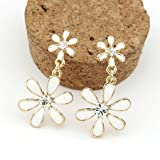 Libaraba Exquisite Drop Glaze Daisy Pendant Earrings,Sweet Earrings