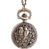 YouYouPifa Unisex's Alloy Strap Quartz Round Pocket Watches (Bronze Strap / White Dial)