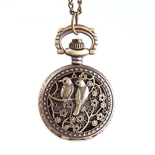 YouYouPifa Hollow Bird Plum Blossom Pattern Bronze Round Small Pocket Watches