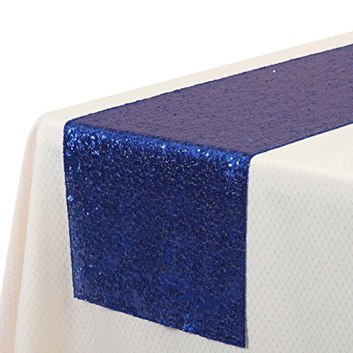VEEYOO 14x108 inch Sparkly Glitter Sequin Table Runner - Wedding Party Dining Kitchen Cloth Linens, Royal Blue