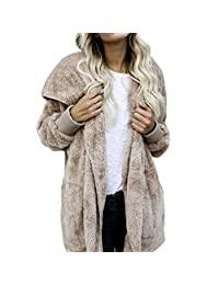 Willsa Attractive Women Stylish Faux Fur Coat Hooded Outwear
