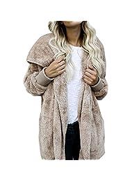 Willsa Attractive Women Stylish Faux Fur Coat Hooded Outwear