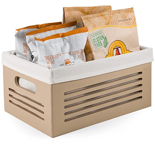 Wooden Storage Bin Container - Decorative Closet, Cabinet and Shelf Basket Organizer Lined With Machine Washable Soft Linen Fabric - Tan, Medium - By Creative Scents