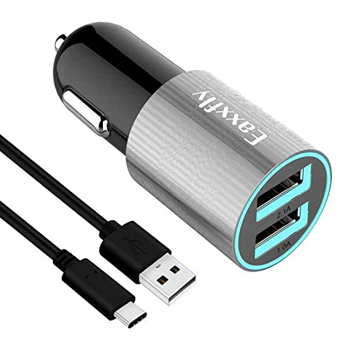 USB Type C Car Charger, Eaxxfly 3.1A 2-Port USB Car Charger Compatible LG G5 G6 V20,HTC 10 U11,Nexus 6P 5X,Samsung Galaxy S9 S9 Plus,S8,S8 Plus,Note 8,with 3.3ft Type C to Type A Cable