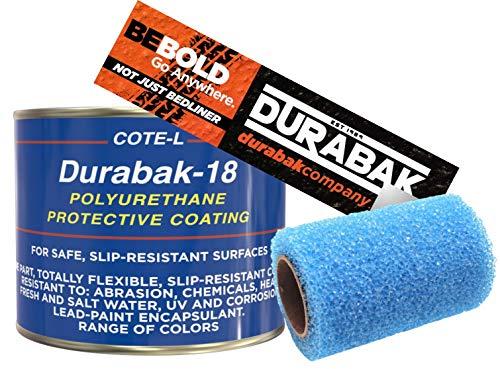 Durabak Light Gray Textured, Outdoor, UV Resistant, Truck Bed Liner Quart KIT - Roll On Coating | DIY Custom Coat for Bedliner and Undercoating, Auto Body, Automotive Rust Proofing, Boat - Quart Liner Bed