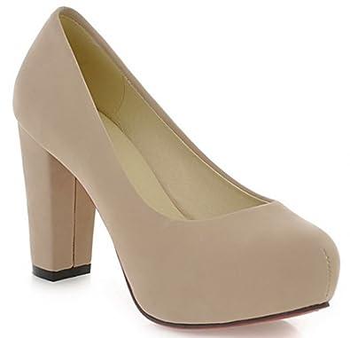 2dd5d85f280 IDIFU Women's Dressy Chunky High Heels Wide Width Slip On Pump Shoes