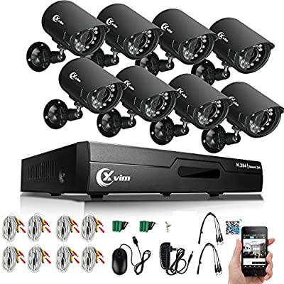 XVIM 8 Channel Home Security System 1080N DVR Recorder with 1TB Hard Drive w/4 1.0-Megapixel Outdoor IP66 Bullet CCTV Surveillance Cameras (8CH DVR w/ 4 Cameras 1TB HDD)