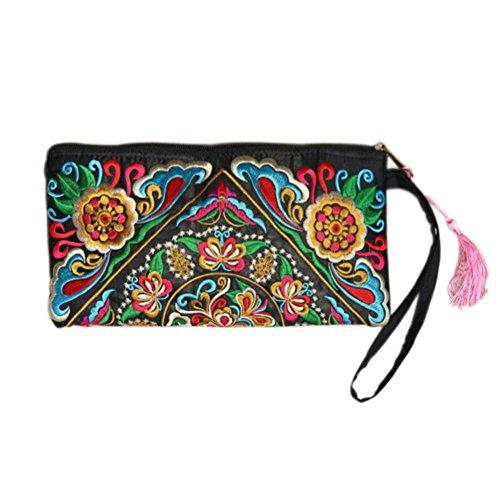 Borsa delle donne, Lady Handbag Borsa Handmade nazione retrò ricamato Portafogli Zip braccialetti etnici stile ricamato frizione borsa alla moda squisita ricamo portafoglio raso ricamato frizione per B