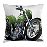 Ambesonne Motorcycle Throw Pillow Cushion Cover, Motorcycle Design with Fancy Supreme Gears and Metal Tires Action Urban Life, Decorative Square Accent Pillow Case, 20 X 20 inches, Green Silver