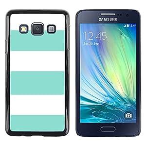 iKiki Tech / Estuche rígido - Teal Summer White Lines Pattern Sun - Samsung Galaxy A3 SM-A300