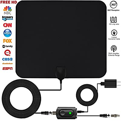 HDTV antenna, TV antenna for digital TV indoor, 50+ miles range with Detachable Signal Amplifier Booster for 1080P High Reception,HDTV antenna Updated Version Better Reception of Signal