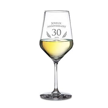 Amavel Verre à Vin Blanc Avec Gravure D Anniversaire 30