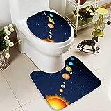 aolankaili 2 Piece Anti-Slip mat Set Solar System Anti-Slip Water Absorption