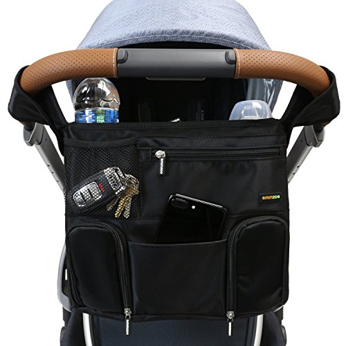 Emmzoe Universal Fit Stroller Organizer All-in-One Insulated Multifunctional Storage Compartments for Drinks, Food, Tablets, Books, Diapers, Wipes by Emmzoe