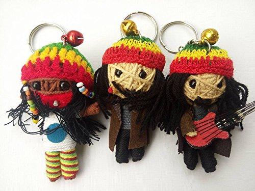 Set of 3 Bob Marley Reggae Music Rasta Voodoo String Doll Keychain Keyring Guitar Hat Size 2 x 3